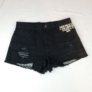 Forever 21 Distress Studded Shorts